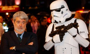 George Lucas with a Stormtrooper